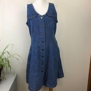 Vintage M.H.M. Button Front Sleeveless Denim Dress